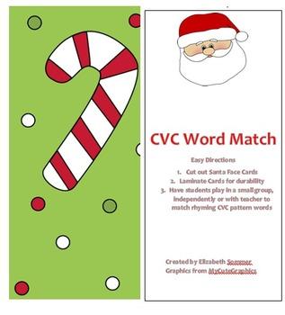 CVC Santa Word Match Game