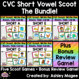 CVC Scoot! Short Vowels (Write the Room, Task Cards (with