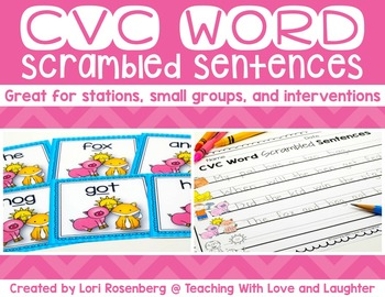 CVC Word Scrambled Sentences