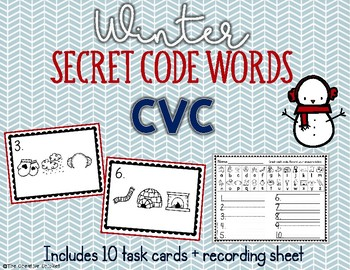 CVC Secret Code Words - Winter Word Work