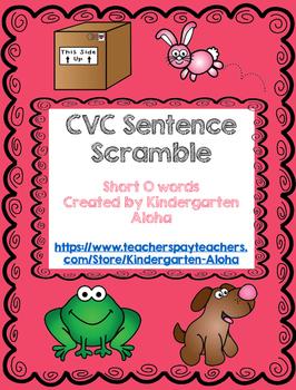 CVC Sentence Scramble w/ Self Check: Short O