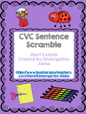 CVC Sentence Scramble w/ Self Check: Short U