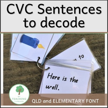 CVC Sentences to decode for Guided Reading - QLD and ELEMENTARY Font
