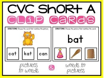 CVC Activities Clip Card Center Short A Medial Vowel Sounds