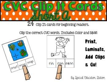 CVC Short A Clip It Cards