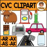CVC Short A Clipart l AK, AR, AS & AX Word Families  l TWM