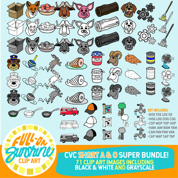 CVC Short A & O Super Bundle - [Full-On Sunshine Clip Art]