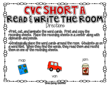 CVC Short A Read and Write the Room Center