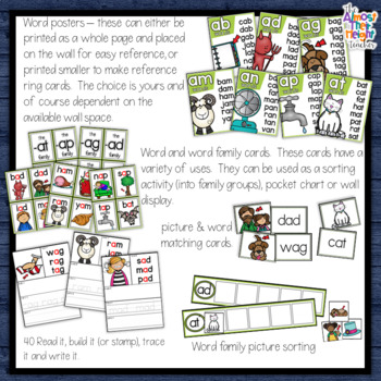 CVC Short Vowel - Short A - Sounds Activity Pack - 11 activities + wall posters