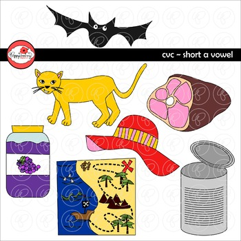 CVC Short A Vowel Clipart by Poppydreamz