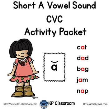 CVC Short A Vowel Sound Activity Packet and Worksheets