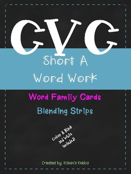 CVC Short A Word Family Activity and Blending Strips