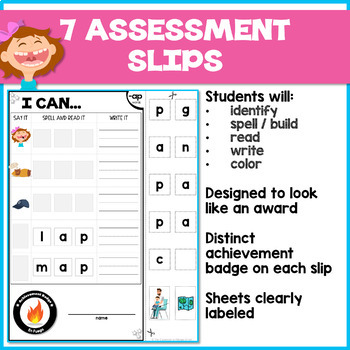 SHORT A cvc Word Family Worksheets/Assessments: I Can Spell, Read & Write!