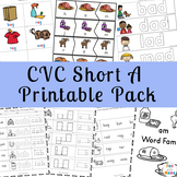 CVC Short A Worksheets and Activities