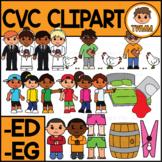 CVC Short E Clipart l -ED & -EG Word Families  l TWMM Clip Art
