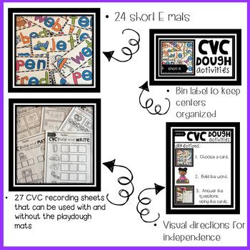 CVC Short E Playdough Mats, Recording Sheets and Printables