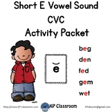 CVC Short E Vowel Sound Activity Packet and Worksheets