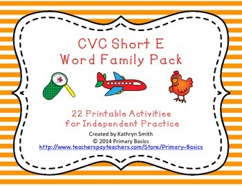 CVC Short E Word Family Pack