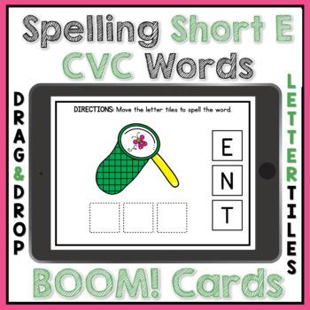 BOOM Cards CVC Short E Spelling Digital Task Card Activity
