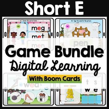 CVC Short E Words Phonics Boom Cards