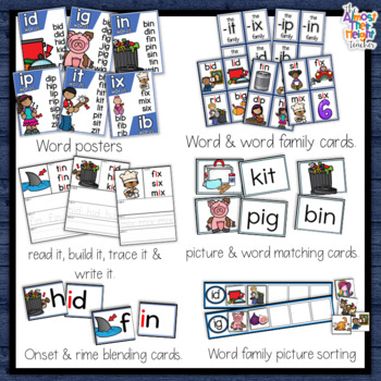 CVC Short Vowel - Short I Sounds Activity Pack - 11 activities + wall posters