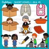 CVC Short I Vowel Clip Art - IB and ID Words