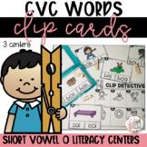 CVC Short O   Clip Card Literacy Centers