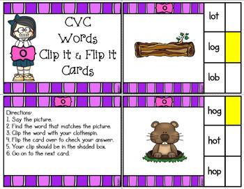 CVC Short O Clip It & Flip It Cards