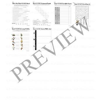CVC Short O Vowel Sound Activity Packet and Worksheets