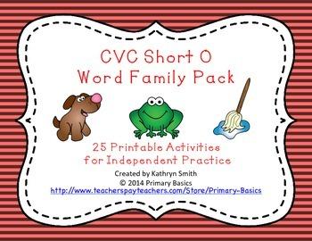 CVC Short O Word Family Pack