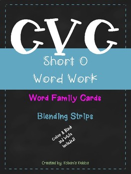 CVC Short O Word Family Activity and Blending Strips