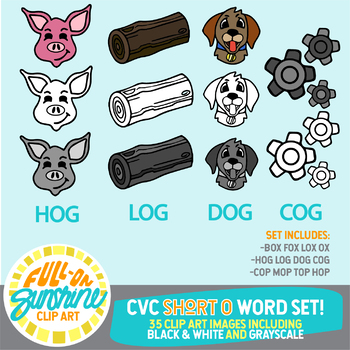 CVC Short O Word Set [Full-On Sunshine Clip Art]