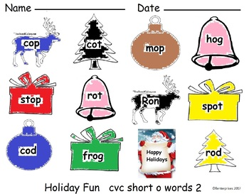 CVC Short O center or activity Holiday Fun