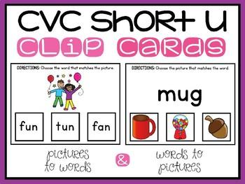 CVC Words Clip Cards Short U Medial Vowel Sounds