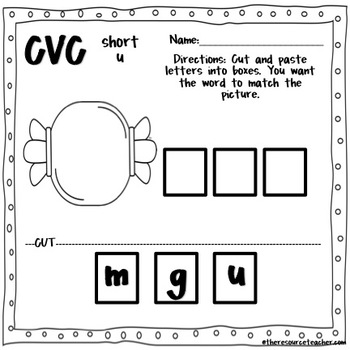 CVC Short U Pack (adapted book and worksheets)