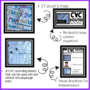 CVC Short U Playdough Mats, Recording Sheets and Printables