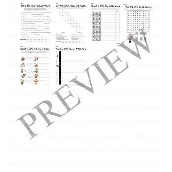 CVC Short U Vowel Sound Activity Packet and Worksheets