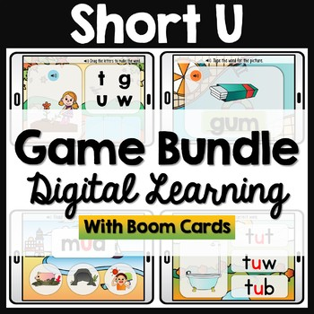 CVC Short U Words Phonics Boom Cards