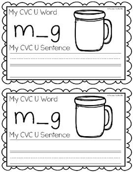 CVC Short U Writing Book