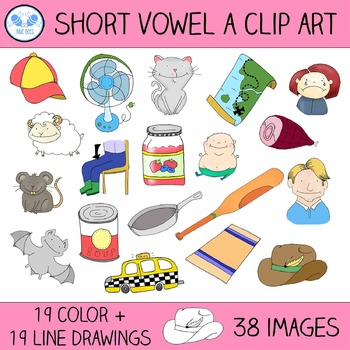 Short A Clip Art - 19 CVC Words, 38 Images