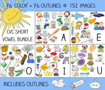 Short Vowel Clip Art Value BUNDLE - 76 CVC Words, 152 Images