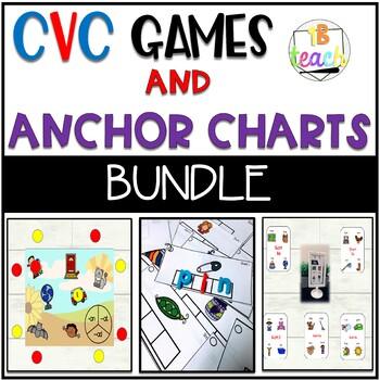 CVC Short Vowel Activities & Mini Anchor Charts & Regular Anchor Charts BUNDLE