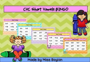 CVC Short Vowel BINGO A, E, I, O, U