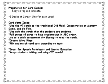 CVC Short Vowel Card Games:  Memory, Go Fish and Old Maid