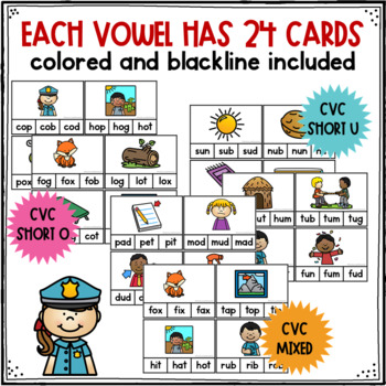 CVC Short Vowel Clip Cards
