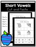 CVC (Short Vowel) Cut and Paste. Kindergarten / First Grade.