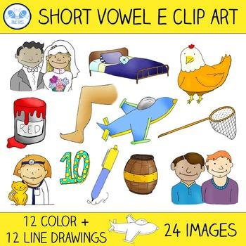 Short E Clip Art - 12 CVC Words, 24 Images