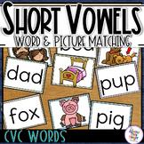 CVC Short Vowel Families Picture Word Matching Activity