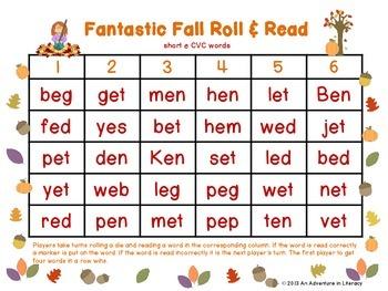 CVC Short Vowel Fantastic Fall Roll & Read