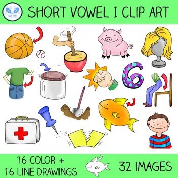 Short I Clip Art - 16 CVC Words, 32 Images